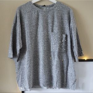 Zara Soft Top With Pearls - Size M.